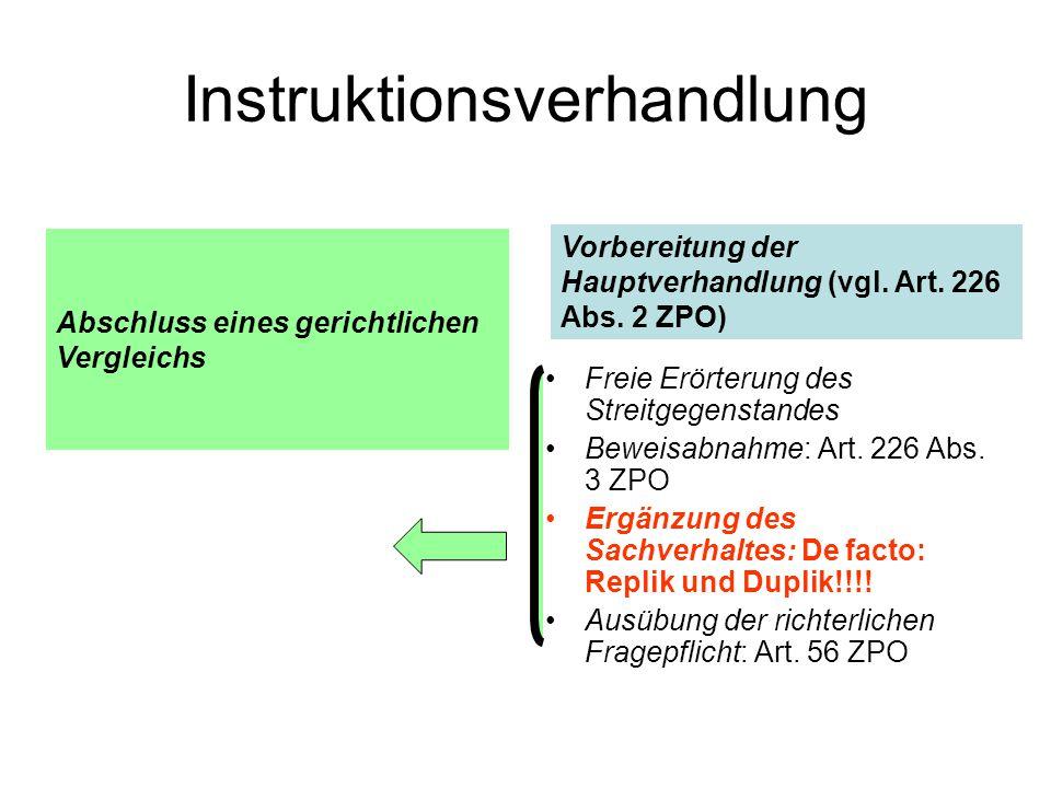 Instruktionsverhandlung Freie Erörterung des Streitgegenstandes Beweisabnahme: Art.