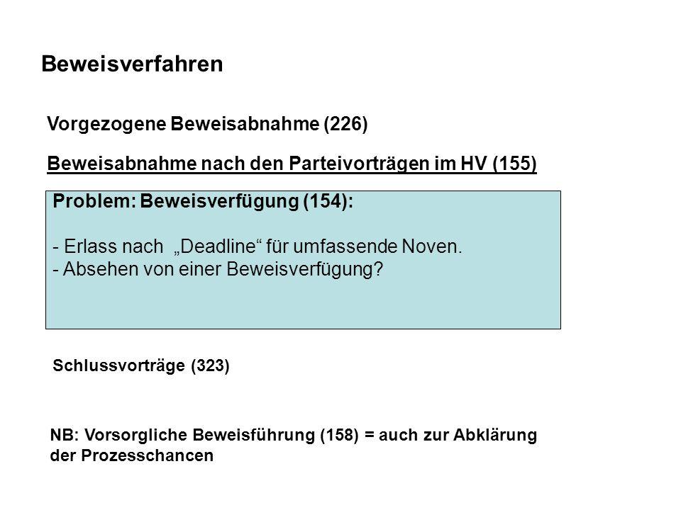 """Beweisverfahren Problem: Beweisverfügung (154): - Erlass nach """"Deadline für umfassende Noven."""