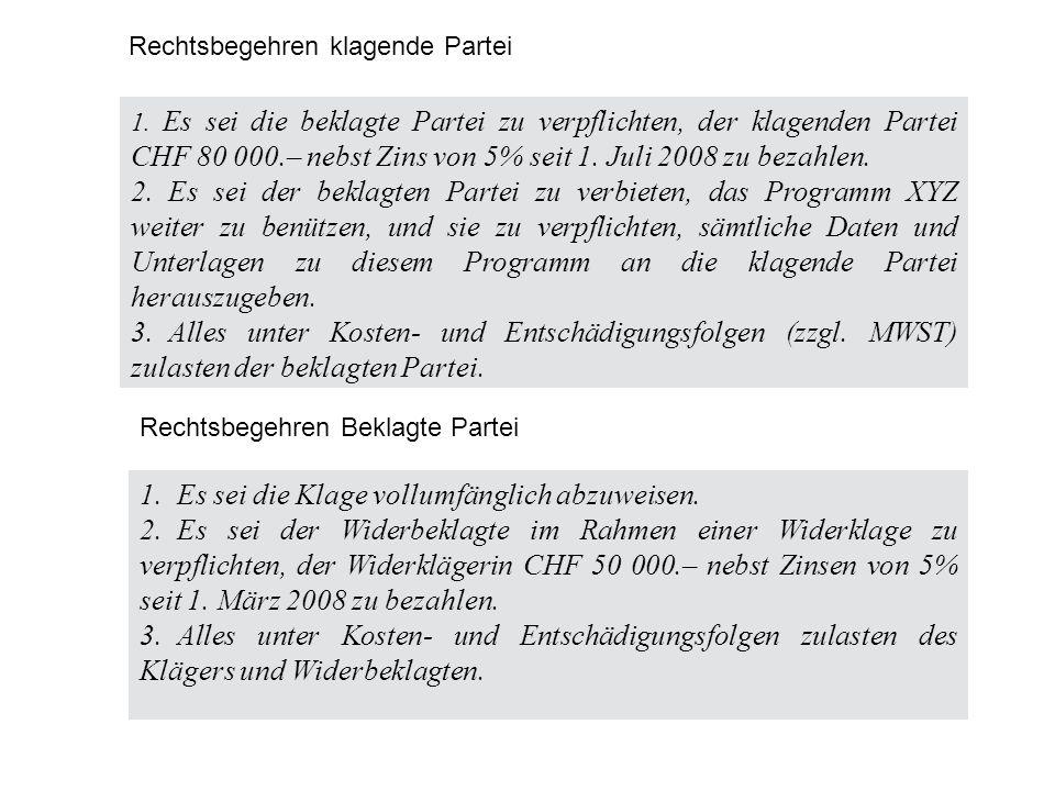 1. Es sei die beklagte Partei zu verpflichten, der klagenden Partei CHF 80 000.– nebst Zins von 5% seit 1. Juli 2008 zu bezahlen. 2.Es sei der beklagt