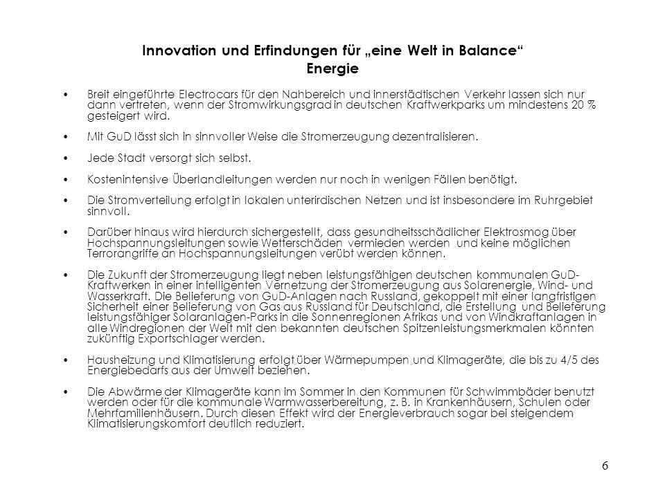 """6 Innovation und Erfindungen für """"eine Welt in Balance"""" Energie Breit eingeführte Electrocars für den Nahbereich und innerstädtischen Verkehr lassen s"""