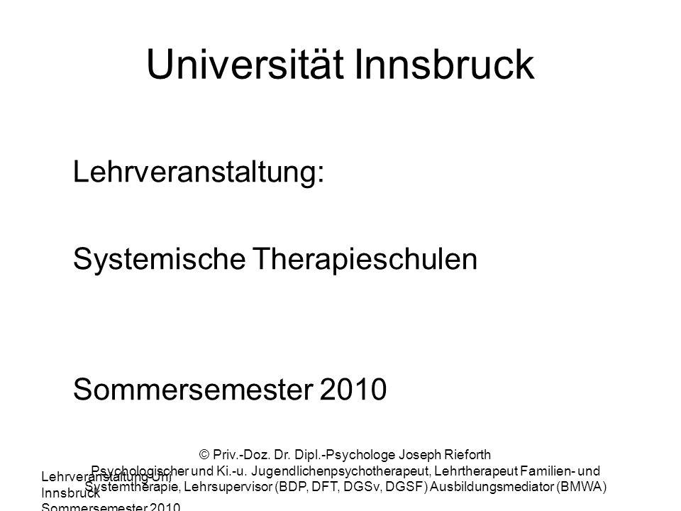 Lehrveranstaltung Uni Innsbruck Sommersemester 2010 © Priv.-Doz. Dr. Dipl.-Psychologe Joseph Rieforth Psychologischer und Ki.-u. Jugendlichenpsychothe