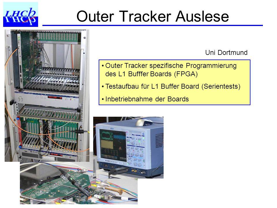 Outer Tracker Auslese Outer Tracker spezifische Programmierung des L1 Bufffer Boards (FPGA) Testaufbau für L1 Buffer Board (Serientests) Inbetriebnahme der Boards Uni Dortmund
