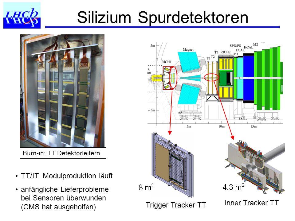 Silizium Spurdetektoren Trigger Tracker TT Inner Tracker TT TT/IT Modulproduktion läuft anfängliche Lieferprobleme bei Sensoren überwunden (CMS hat ausgeholfen) Burn-in: TT Detektorleitern