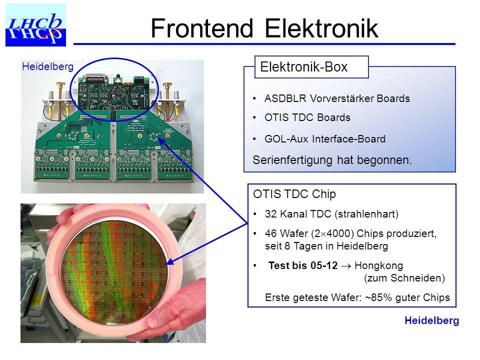 Frontend Elektronik OTIS TDC Chip 32 Kanal TDC (strahlenhart) 46 Wafer (2  4000) Chips produziert, seit 8 Tagen in Heidelberg Test bis 05-12  Hongkong (zum Schneiden) Erste geteste Wafer: ~85% guter Chips ASDBLR Vorverstärker Boards OTIS TDC Boards GOL-Aux Interface-Board Serienfertigung hat begonnen.