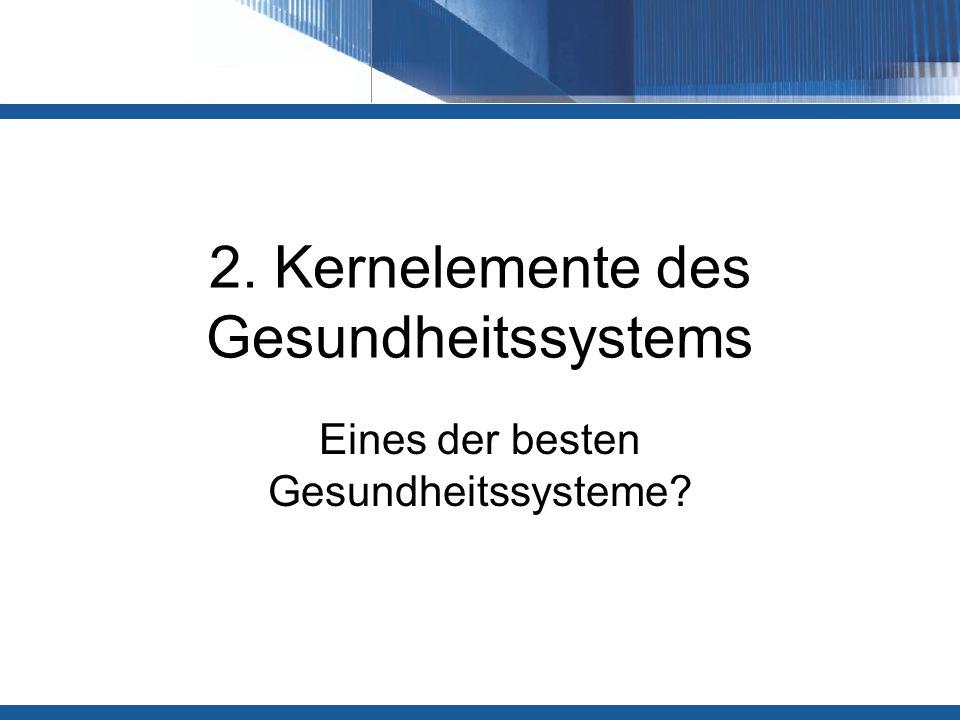 2. Kernelemente des Gesundheitssystems Eines der besten Gesundheitssysteme?