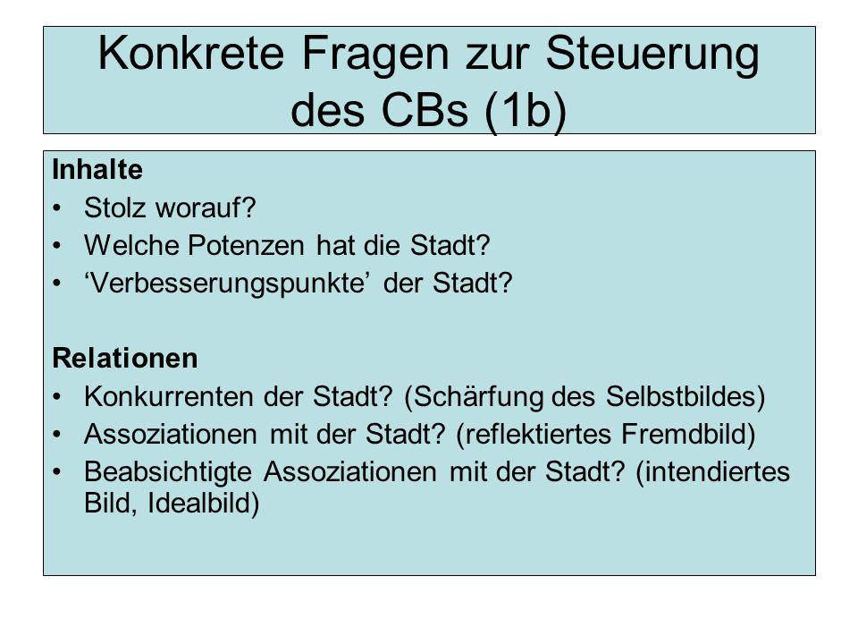 Konkrete Fragen zur Steuerung des CBs (1b) Inhalte Stolz worauf.