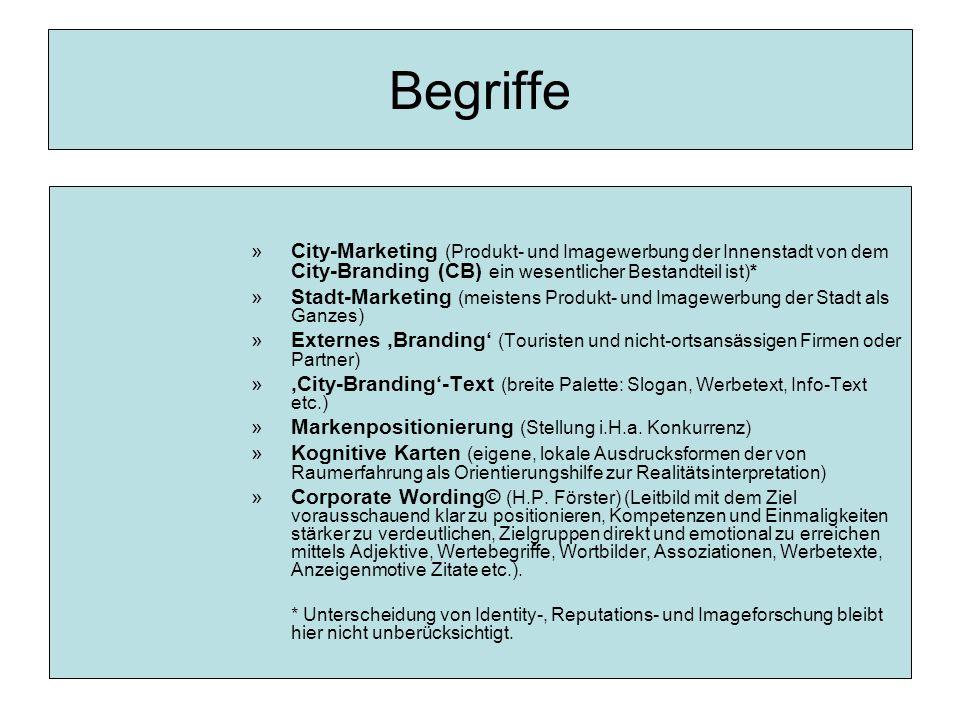 Begriffe »City-Marketing (Produkt- und Imagewerbung der Innenstadt von dem City-Branding (CB) ein wesentlicher Bestandteil ist)* »Stadt-Marketing (meistens Produkt- und Imagewerbung der Stadt als Ganzes) »Externes 'Branding' (Touristen und nicht-ortsansässigen Firmen oder Partner) »'City-Branding'-Text (breite Palette: Slogan, Werbetext, Info-Text etc.) »Markenpositionierung (Stellung i.H.a.