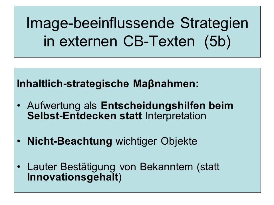 Image-beeinflussende Strategien in externen CB-Texten (5b) Inhaltlich-strategische Maβnahmen: Aufwertung als Entscheidungshilfen beim Selbst-Entdecken statt Interpretation Nicht-Beachtung wichtiger Objekte Lauter Bestätigung von Bekanntem (statt Innovationsgehalt)