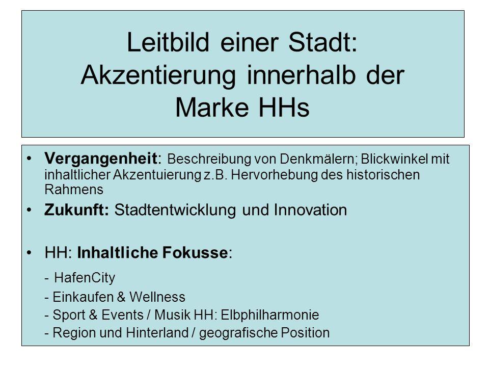 Leitbild einer Stadt: Akzentierung innerhalb der Marke HHs Vergangenheit: Beschreibung von Denkmälern; Blickwinkel mit inhaltlicher Akzentuierung z.B.