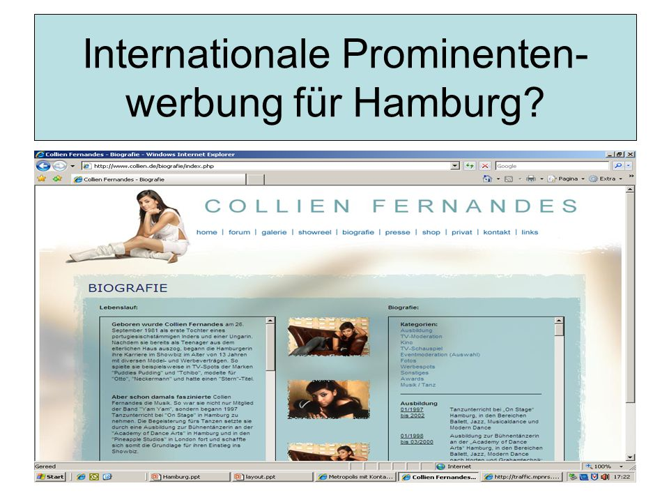Internationale Prominenten- werbung für Hamburg