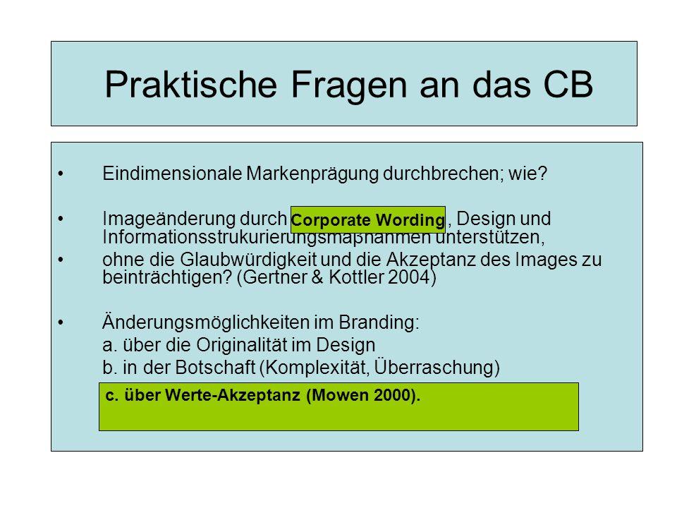 Praktische Fragen an das CB Eindimensionale Markenprägung durchbrechen; wie.