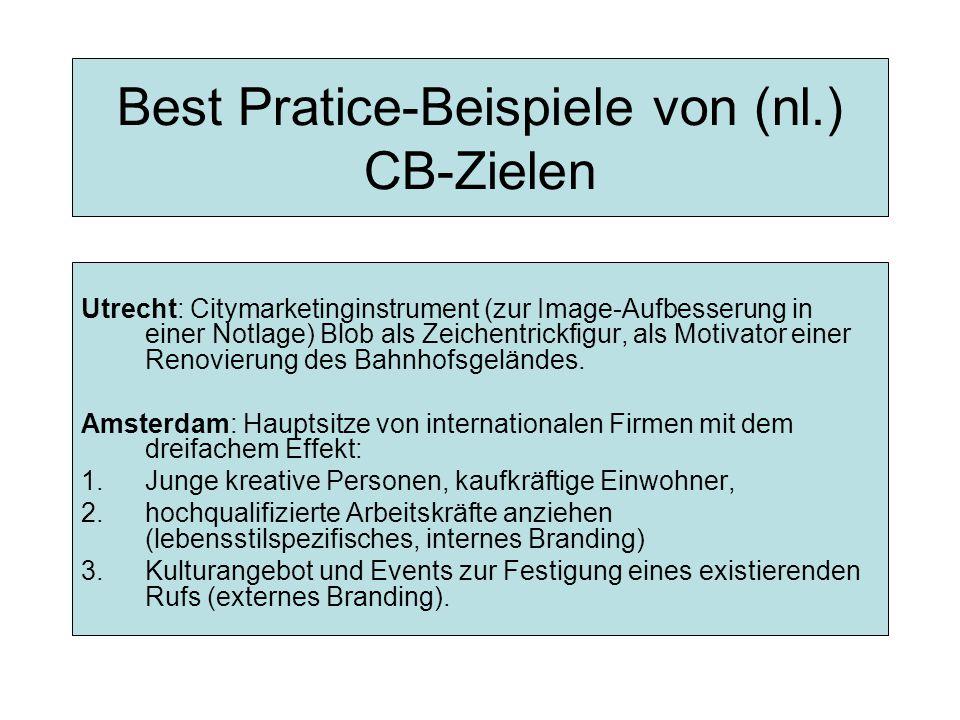 Best Pratice-Beispiele von (nl.) CB-Zielen Utrecht: Citymarketinginstrument (zur Image-Aufbesserung in einer Notlage) Blob als Zeichentrickfigur, als Motivator einer Renovierung des Bahnhofsgeländes.