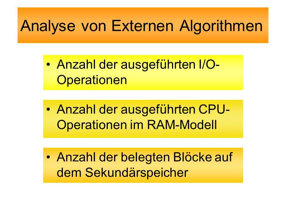 Analyse von Externen Algorithmen Anzahl der ausgeführten I/O- Operationen Anzahl der ausgeführten CPU- Operationen im RAM-Modell Anzahl der belegten Blöcke auf dem Sekundärspeicher