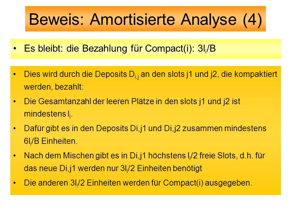 Beweis: Amortisierte Analyse (4) Es bleibt: die Bezahlung für Compact(i): 3l i /B Dies wird durch die Deposits D i,j an den slots j1 und j2, die kompaktiert werden, bezahlt: Die Gesamtanzahl der leeren Plätze in den slots j1 und j2 ist mindestens l i.
