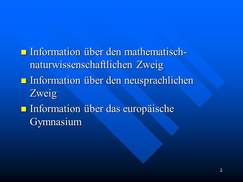 2 Information über den mathematisch- naturwissenschaftlichen Zweig Information über den mathematisch- naturwissenschaftlichen Zweig Information über den neusprachlichen Zweig Information über den neusprachlichen Zweig Information über das europäische Gymnasium Information über das europäische Gymnasium
