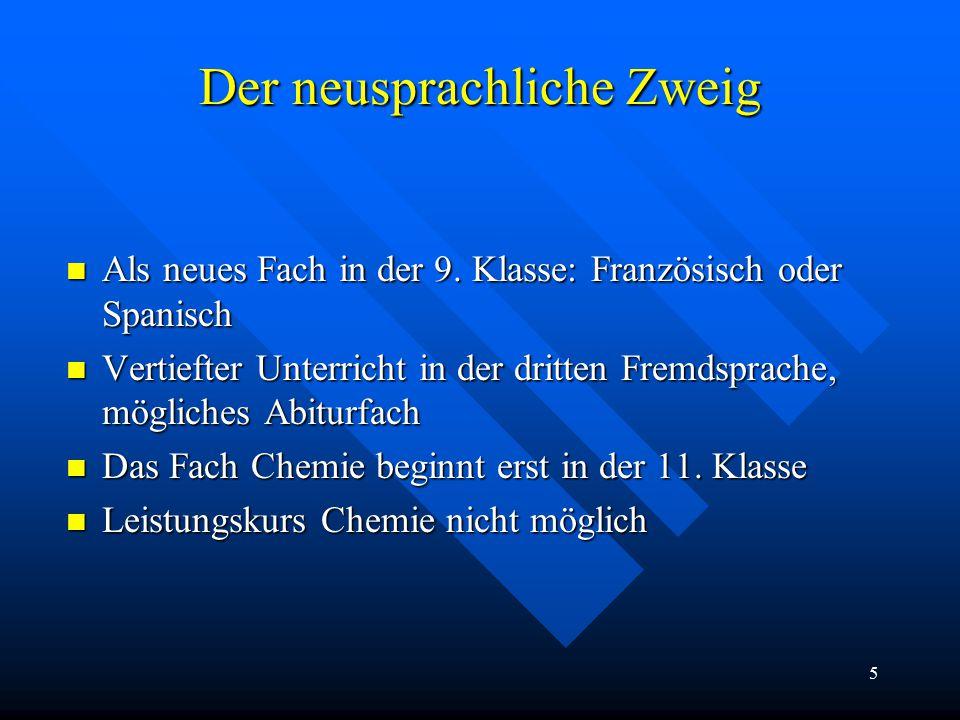 5 Der neusprachliche Zweig Als neues Fach in der 9.