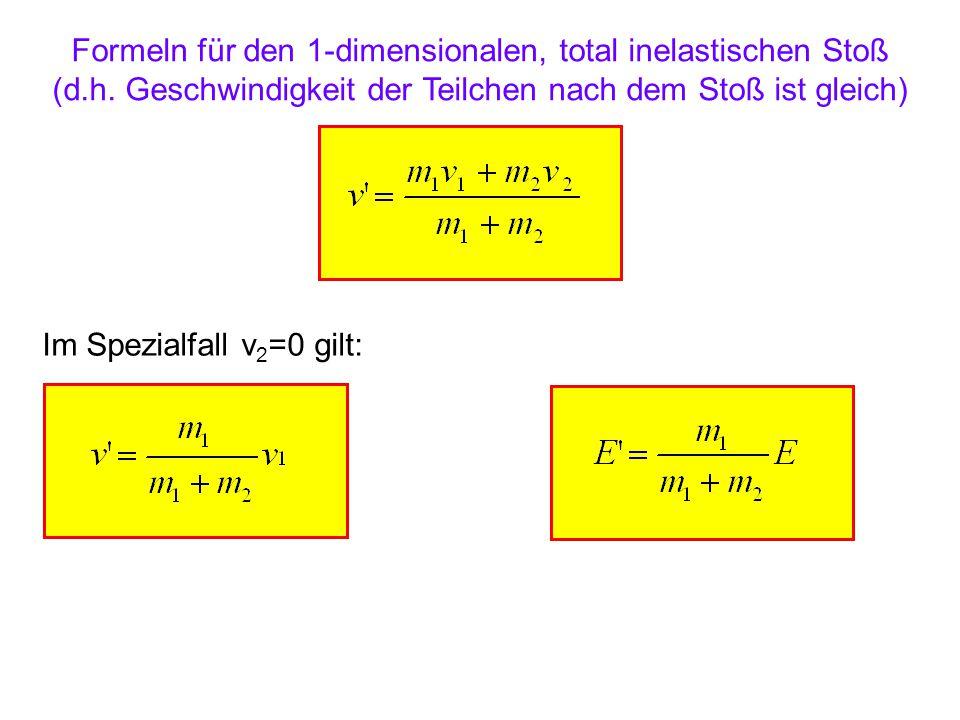 Formeln für den 1-dimensionalen, elastischen Stoß (d.h.