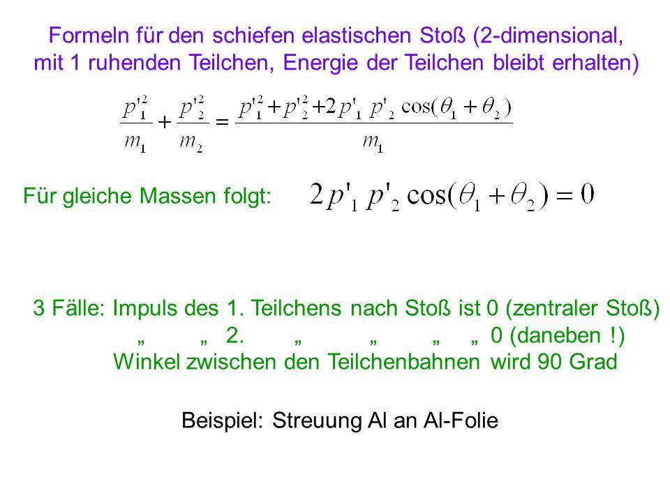 Formeln für den schiefen elastischen Stoß (2-dimensional, mit 1 ruhenden Teilchen, Energie der Teilchen bleibt erhalten) Für gleiche Massen folgt: 3 F