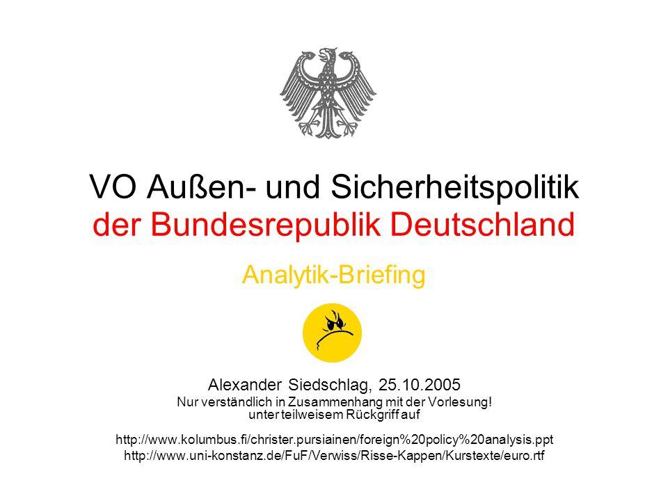 VO Außen- und Sicherheitspolitik der Bundesrepublik Deutschland Analytik-Briefing Alexander Siedschlag, 25.10.2005 Nur verständlich in Zusammenhang mit der Vorlesung.