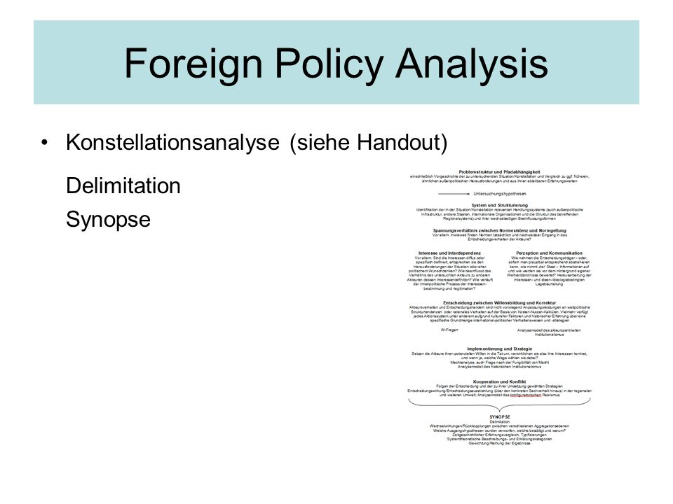 Foreign Policy Analysis Konstellationsanalyse (siehe Handout) Delimitation Synopse