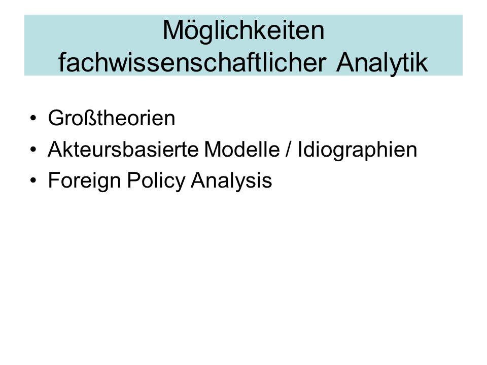 Möglichkeiten fachwissenschaftlicher Analytik Großtheorien Akteursbasierte Modelle / Idiographien Foreign Policy Analysis