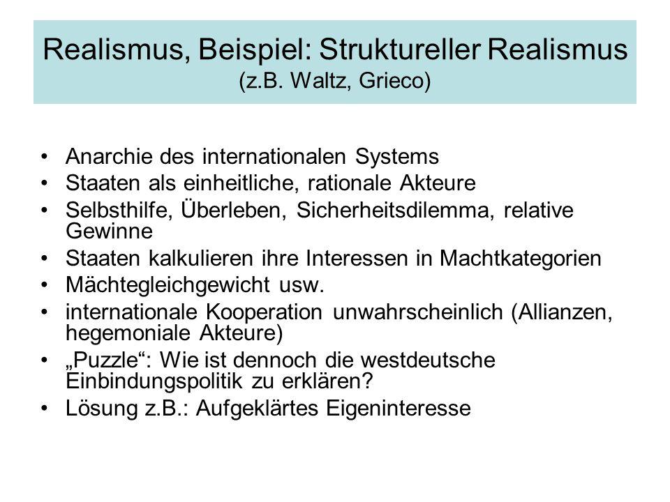 Realismus, Beispiel: Struktureller Realismus (z.B.
