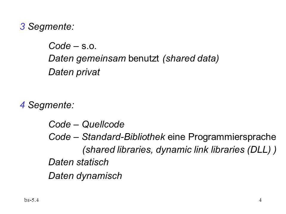 bs-5.45 Elementarer Fall – Code- und Daten-Segment: 4 Register:code base code length data base data length Identifizierung des jeweiligen Registerpaars durch das Steuerwerk: Befehlsadressen vs.