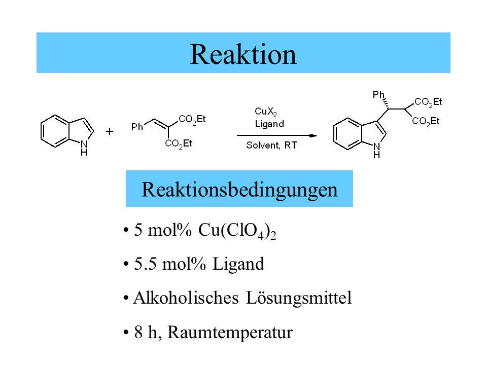 Reaktion Reaktionsbedingungen 5 mol% Cu(ClO 4 ) 2 5.5 mol% Ligand Alkoholisches Lösungsmittel 8 h, Raumtemperatur