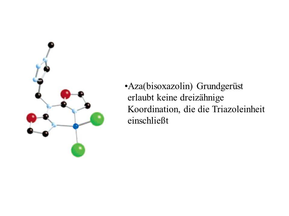 Aza(bisoxazolin) Grundgerüst erlaubt keine dreizähnige Koordination, die die Triazoleinheit einschließt