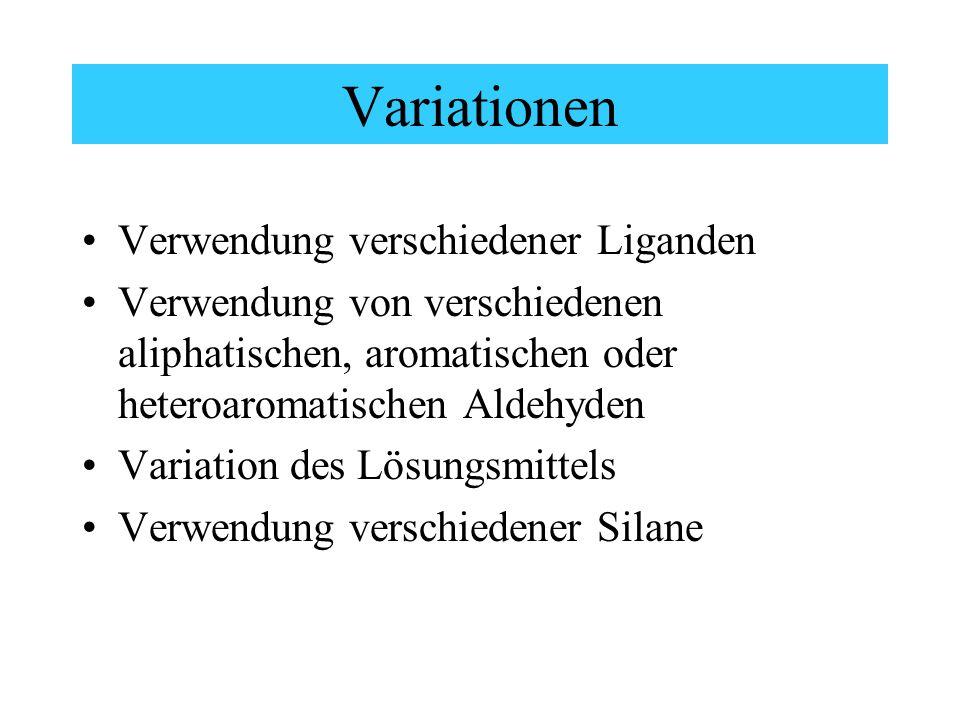Variationen Verwendung verschiedener Liganden Verwendung von verschiedenen aliphatischen, aromatischen oder heteroaromatischen Aldehyden Variation des Lösungsmittels Verwendung verschiedener Silane