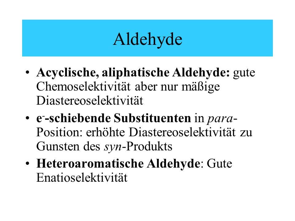 Aldehyde Acyclische, aliphatische Aldehyde: gute Chemoselektivität aber nur mäßige Diastereoselektivität e - -schiebende Substituenten in para- Position: erhöhte Diastereoselektivität zu Gunsten des syn-Produkts Heteroaromatische Aldehyde: Gute Enatioselektivität