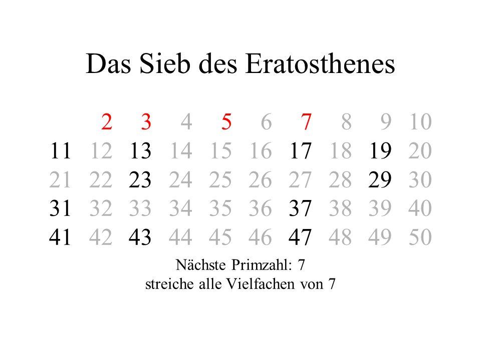 Das Sieb des Eratosthenes 2 3 4 5 6 7 8 910 11121314151617181920 21222324252627282930 31323334353637383940 41424344454647484950 Nächste Primzahl: 7 st