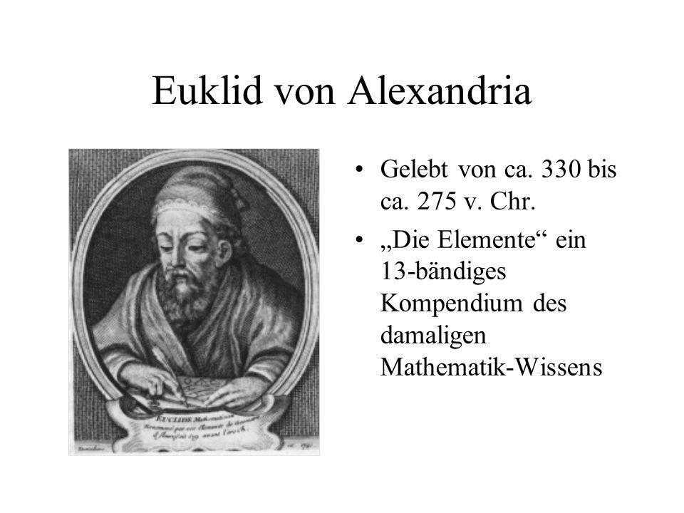 """Euklid von Alexandria Gelebt von ca. 330 bis ca. 275 v. Chr. """"Die Elemente"""" ein 13-bändiges Kompendium des damaligen Mathematik-Wissens"""