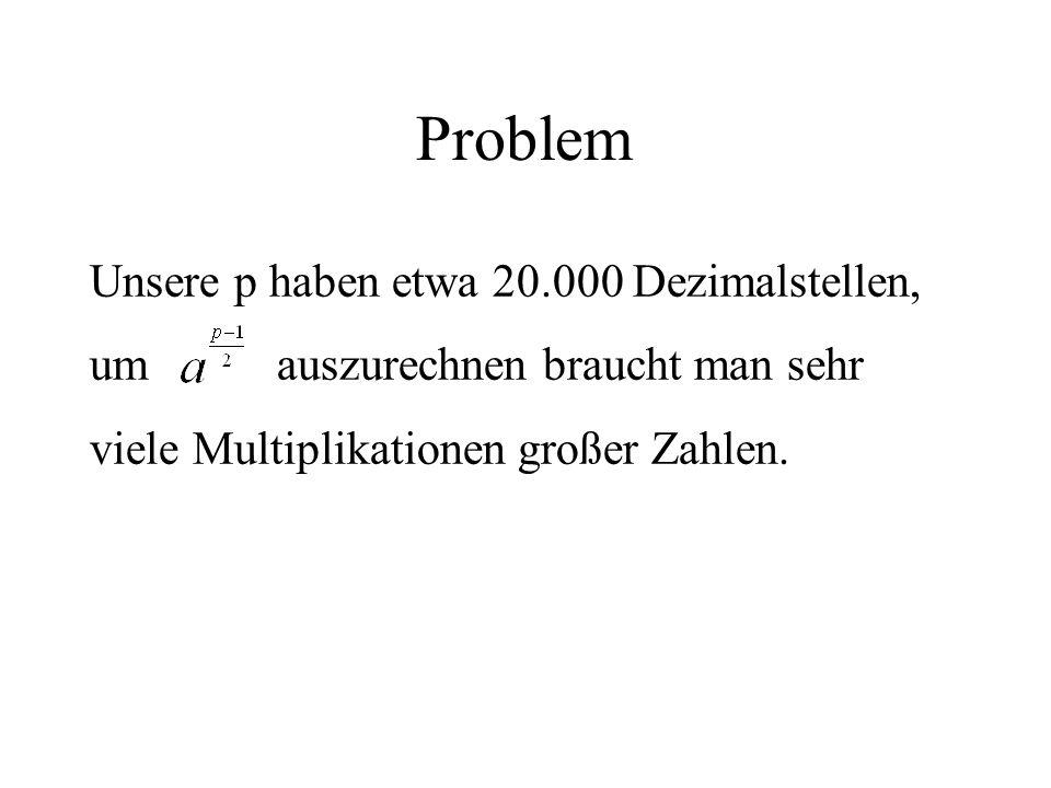 Problem Unsere p haben etwa 20.000 Dezimalstellen, um auszurechnen braucht man sehr viele Multiplikationen großer Zahlen.