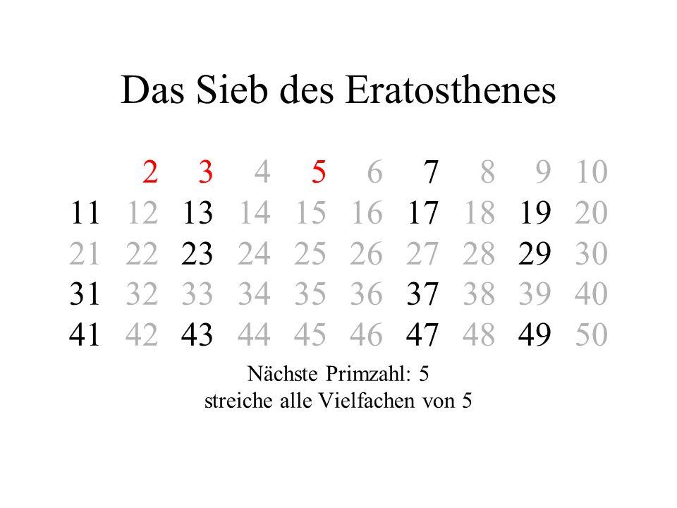 Das Sieb des Eratosthenes 2 3 4 5 6 7 8 910 11121314151617181920 21222324252627282930 31323334353637383940 41424344454647484950 Nächste Primzahl: 7 streiche alle Vielfachen von 7