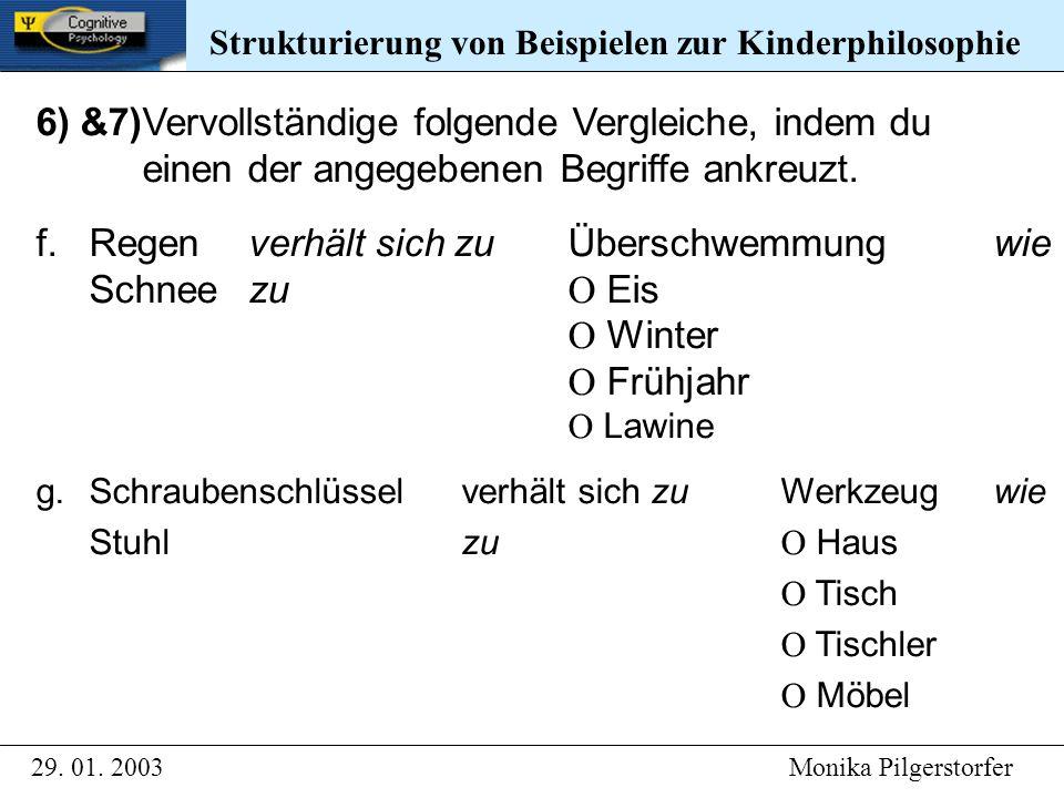 Strukturierung von Beispielen zur Kinderphilosophie 29. 01. 2003 Monika Pilgerstorfer Strukturierung von Beispielen zur Kinderphilosophie 6) &7)Vervol
