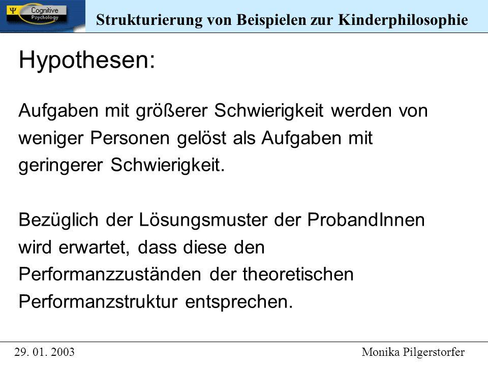 Strukturierung von Beispielen zur Kinderphilosophie 29. 01. 2003 Monika Pilgerstorfer Strukturierung von Beispielen zur Kinderphilosophie Hypothesen: