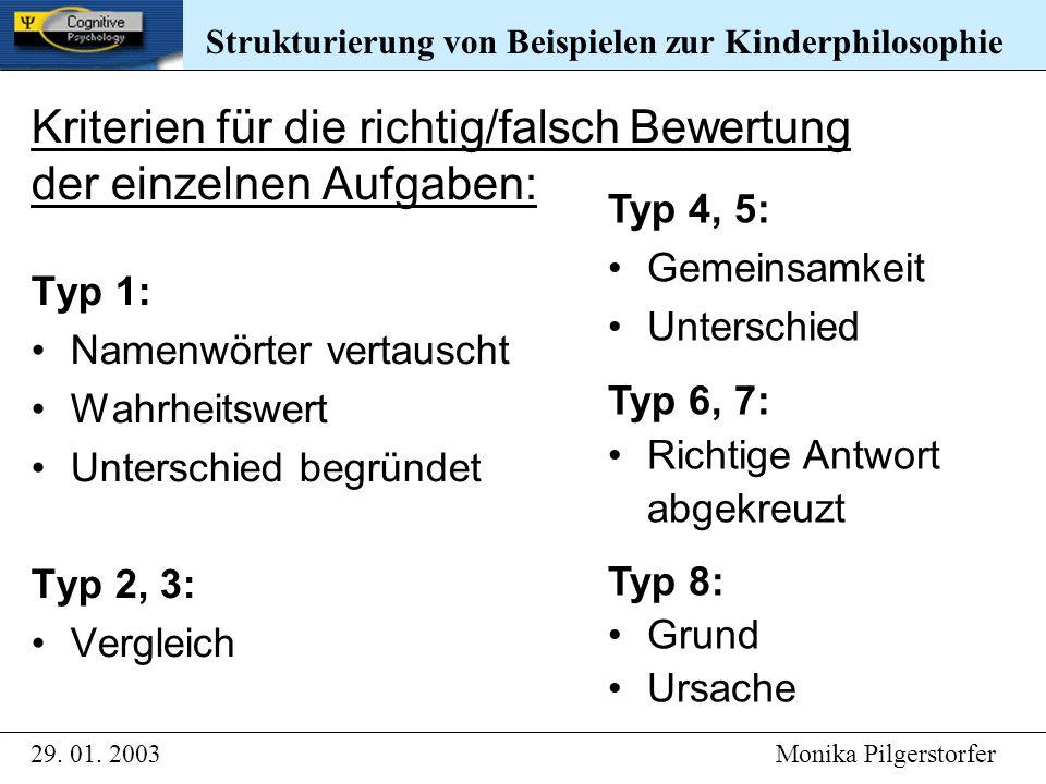 Typ 1: Namenwörter vertauscht Wahrheitswert Unterschied begründet Typ 2, 3: Vergleich Typ 4, 5: Gemeinsamkeit Unterschied Typ 6, 7: Richtige Antwort abgekreuzt Typ 8: Grund Ursache Strukturierung von Beispielen zur Kinderphilosophie 29.