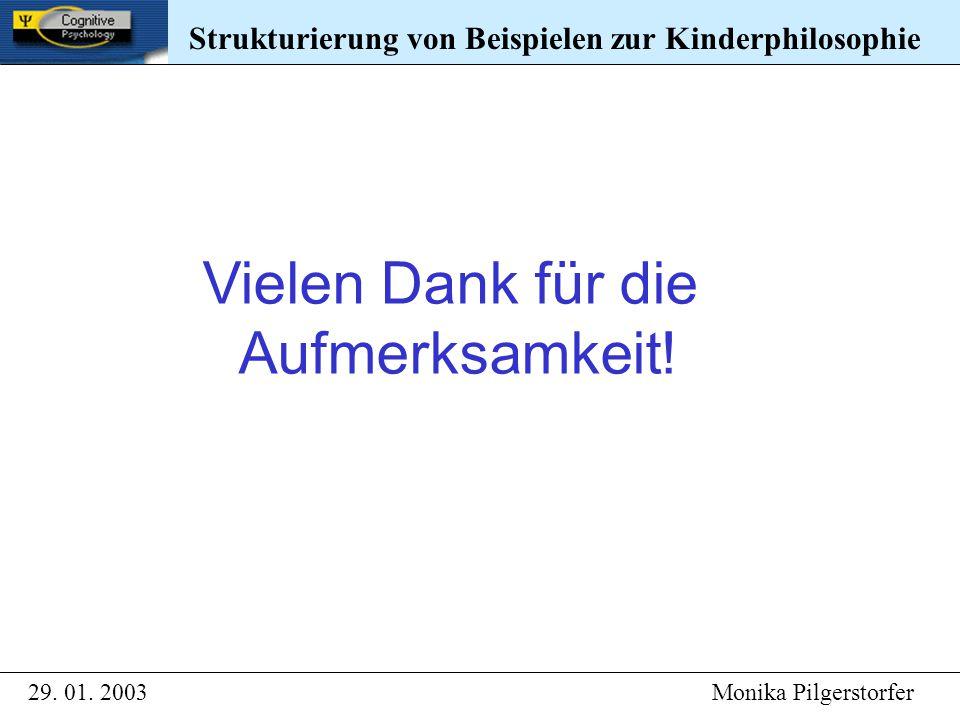 Strukturierung von Beispielen zur Kinderphilosophie 29. 01. 2003 Monika Pilgerstorfer Strukturierung von Beispielen zur Kinderphilosophie Vielen Dank