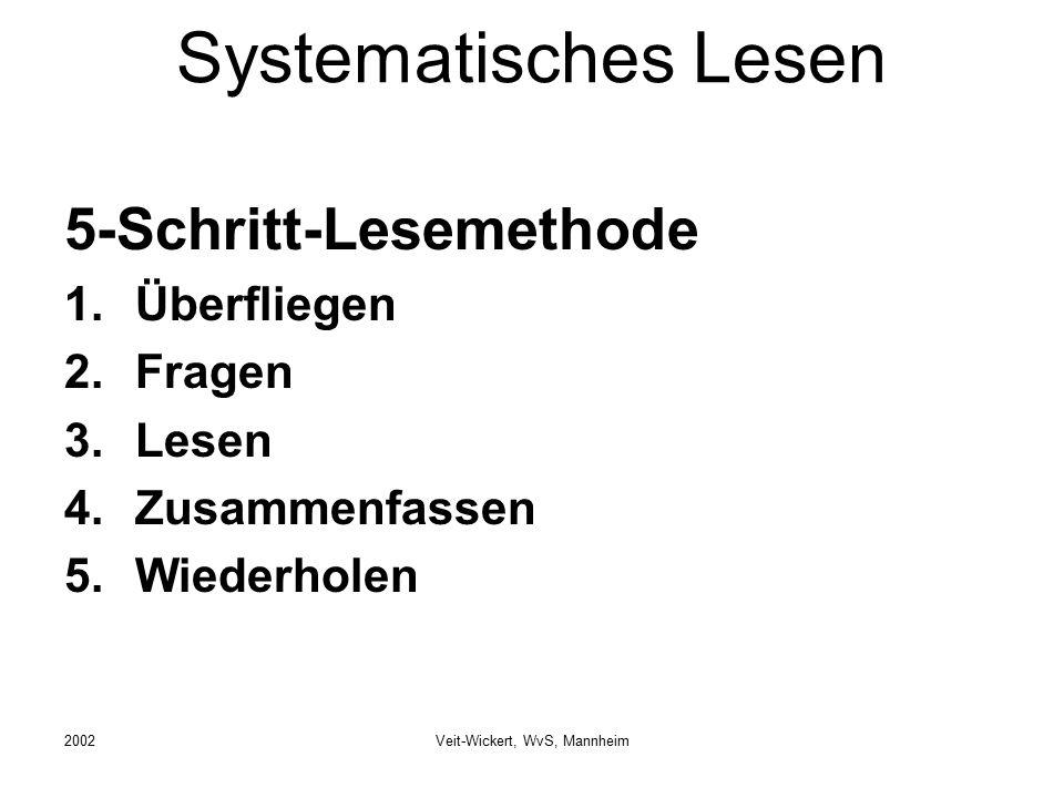 2002Veit-Wickert, WvS, Mannheim Systematisches Lesen 5-Schritt-Lesemethode 1.Überfliegen 2.Fragen 3.Lesen 4.Zusammenfassen 5.Wiederholen