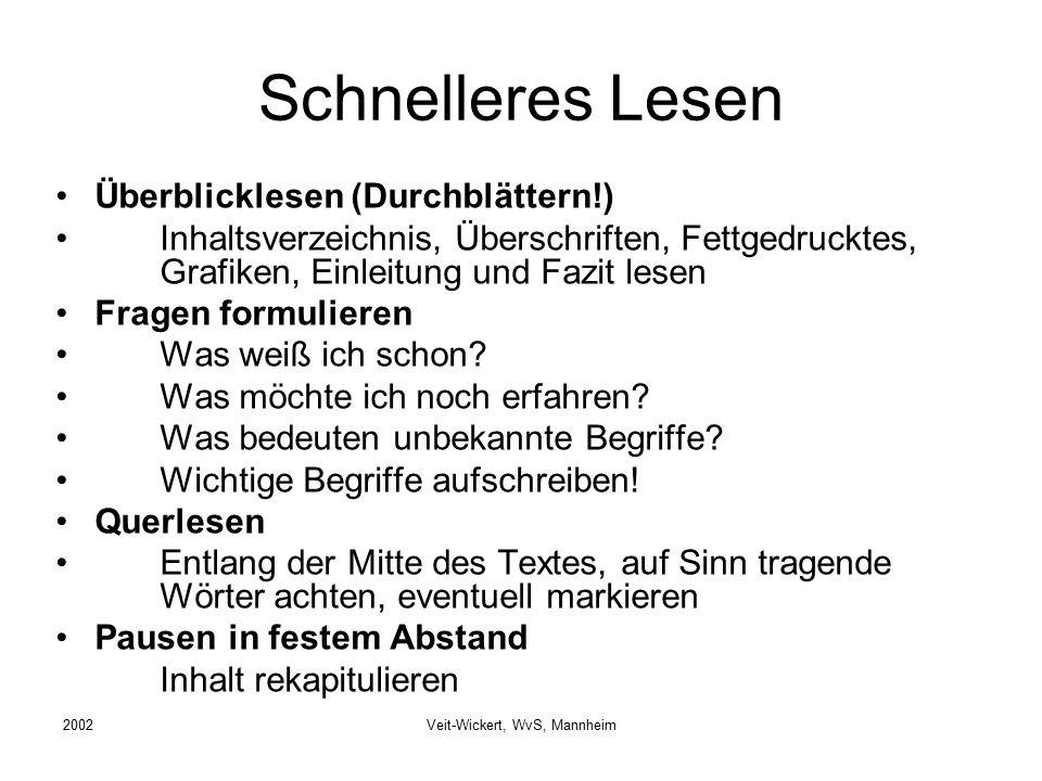 2002Veit-Wickert, WvS, Mannheim Schnelleres Lesen Überblicklesen (Durchblättern!) Inhaltsverzeichnis, Überschriften, Fettgedrucktes, Grafiken, Einleit