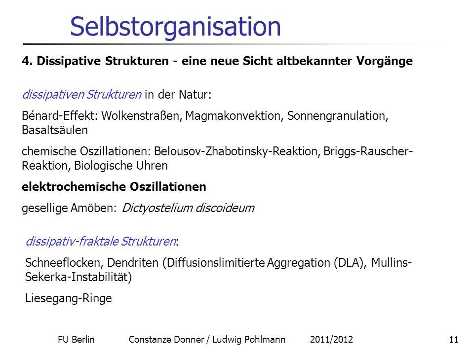 FU Berlin Constanze Donner / Ludwig Pohlmann 2011/201211 Selbstorganisation 4. Dissipative Strukturen - eine neue Sicht altbekannter Vorgänge dissipat