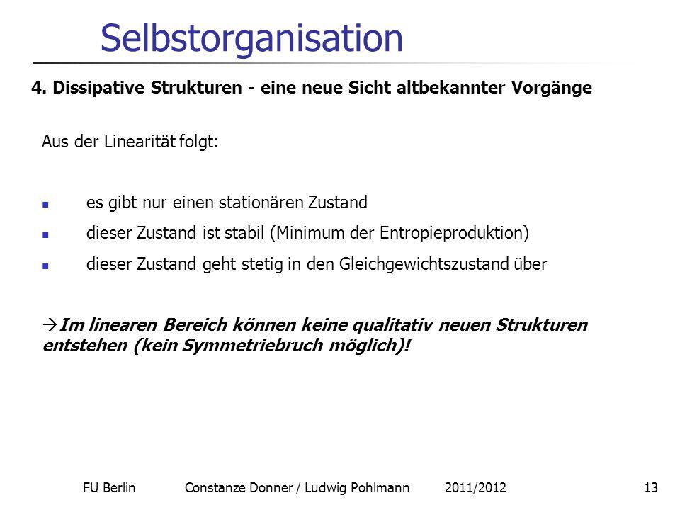 FU Berlin Constanze Donner / Ludwig Pohlmann 2011/201213 Selbstorganisation 4. Dissipative Strukturen - eine neue Sicht altbekannter Vorgänge Aus der