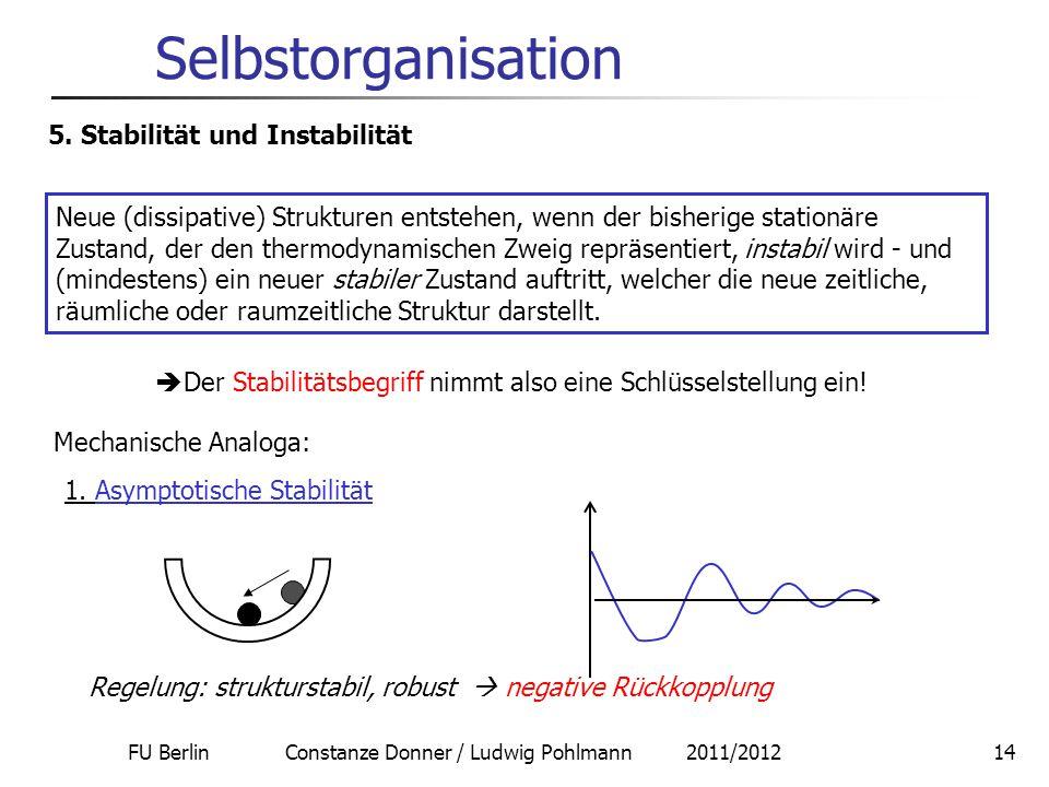FU Berlin Constanze Donner / Ludwig Pohlmann 2011/201214 Selbstorganisation 5. Stabilität und Instabilität Neue (dissipative) Strukturen entstehen, we