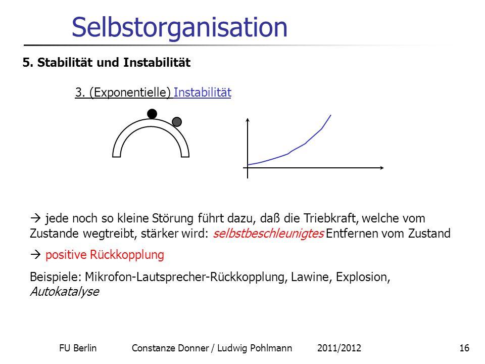 FU Berlin Constanze Donner / Ludwig Pohlmann 2011/201216 Selbstorganisation 5. Stabilität und Instabilität 3. (Exponentielle) Instabilität  jede noch