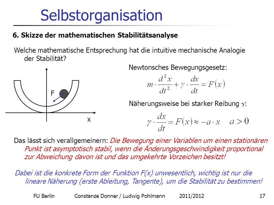 FU Berlin Constanze Donner / Ludwig Pohlmann 2011/201217 Selbstorganisation 6. Skizze der mathematischen Stabilitätsanalyse Welche mathematische Entsp