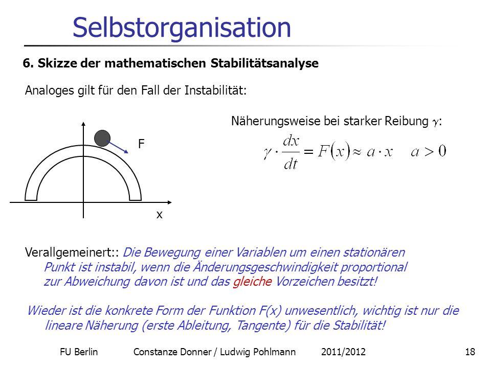 FU Berlin Constanze Donner / Ludwig Pohlmann 2011/201218 Selbstorganisation 6. Skizze der mathematischen Stabilitätsanalyse Analoges gilt für den Fall