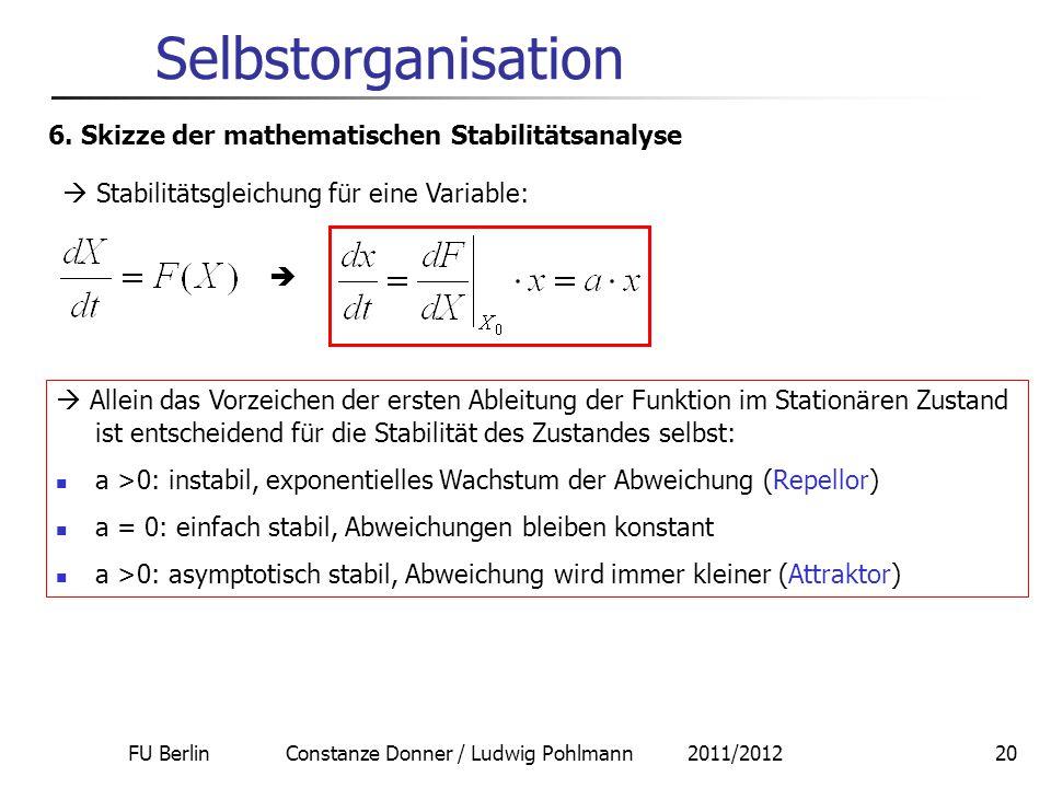 FU Berlin Constanze Donner / Ludwig Pohlmann 2011/201220 Selbstorganisation 6. Skizze der mathematischen Stabilitätsanalyse  Stabilitätsgleichung für