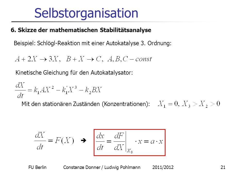 FU Berlin Constanze Donner / Ludwig Pohlmann 2011/201221 Selbstorganisation 6. Skizze der mathematischen Stabilitätsanalyse Beispiel: Schlögl-Reaktion
