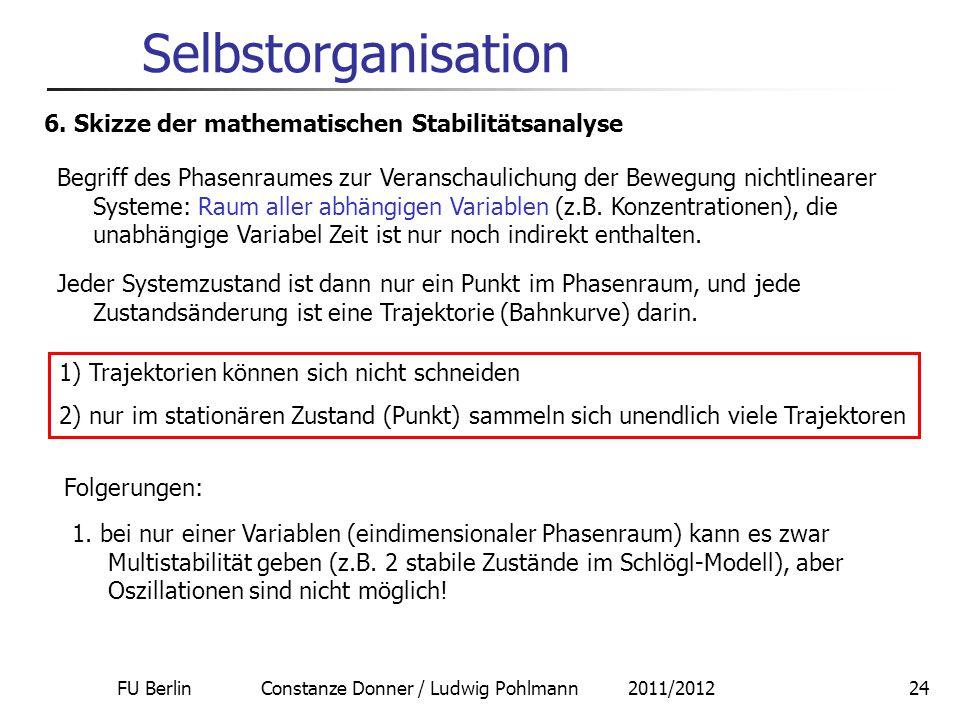 FU Berlin Constanze Donner / Ludwig Pohlmann 2011/201224 Selbstorganisation 6. Skizze der mathematischen Stabilitätsanalyse Begriff des Phasenraumes z